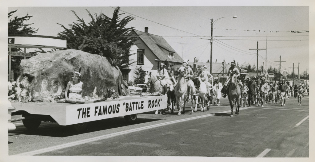 "A float during the 1959 Port Orford Jubilee celebrating the famous Battle Rock. In the past, The battle of ""Battle Rock"" was reenacted each 4th of July as part of the Port Orford's Jubilee Celebration.  It is no longer the practice today. (Photo: David Falconer)"