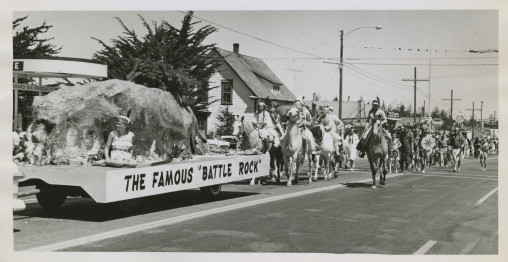"""A float during the 1959 Port Orford Jubilee celebrating the famous Battle Rock. In the past, The battle of """"Battle Rock"""" was reenacted each 4th of July as part of the Port Orford's Jubilee Celebration.  It is no longer the practice today. (Photo: David Falconer)"""