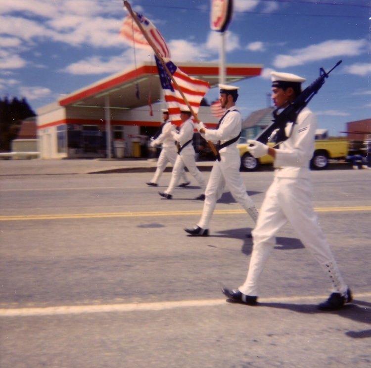 Port Orford (South End) on the 4th of July, 1973. Location: Highway 101 6th and Jackson.