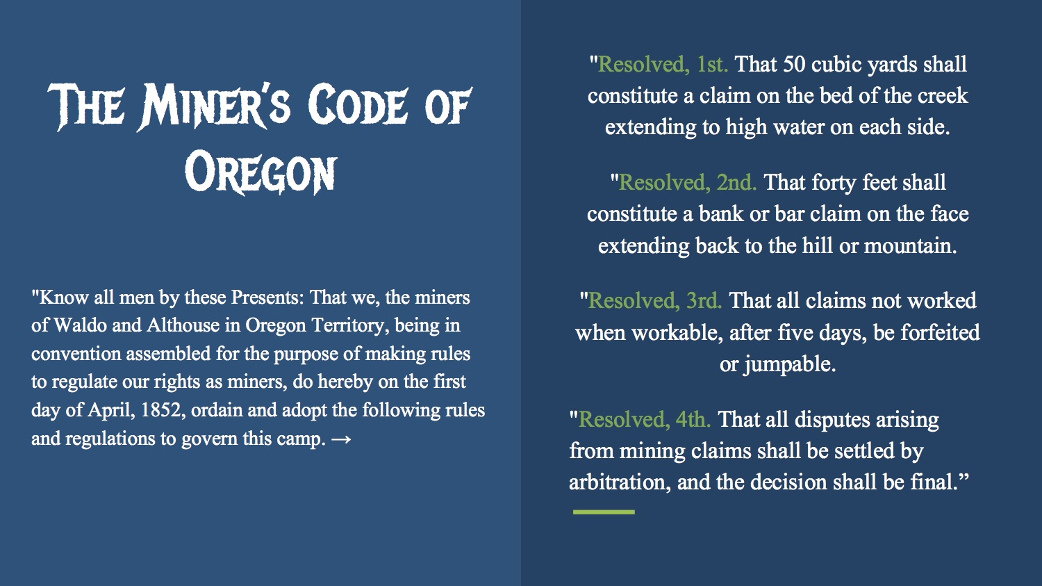 The Miner's Code of Oregon