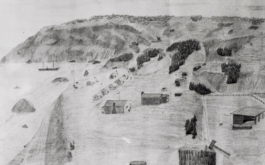 Drawing of Fort Orford, Oregon Territory, 1855.