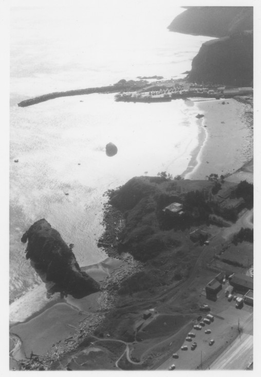 Aerial view of Battle Rock and the Port of Port Orford