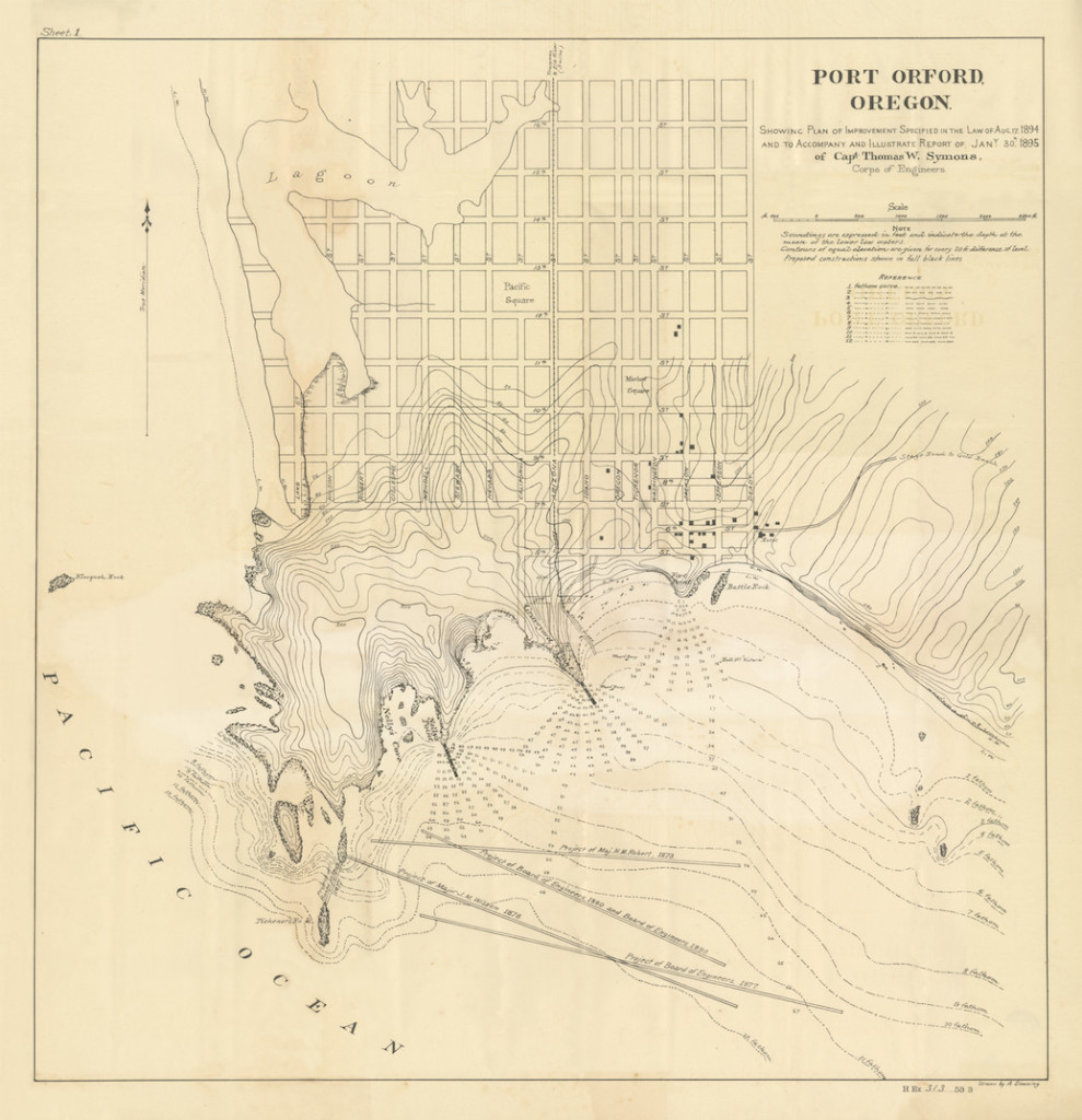 Port Orford map from 1895 (retouched by Point.B Studio)