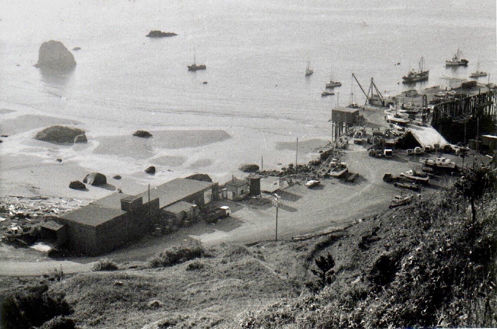 FV Amak anchored off its stern in the Port of Port Orford c1970