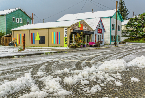 Triangle Square during a rare snow event (Photo by Lance Nix)