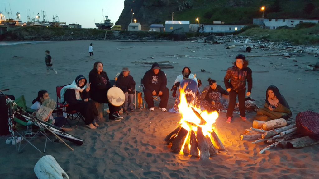 Beach Fire at the Annual Tseriadun Native Salmon Bake And Honor Ceremony