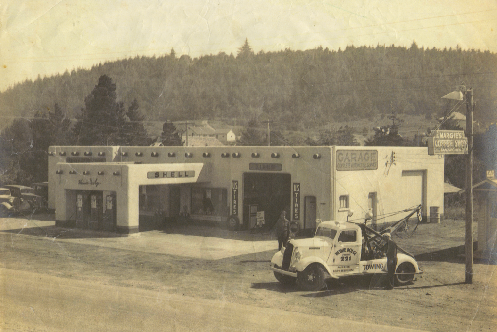 Photo of the Downtown Fun Zone Building in earlier days when it was a Shell Gas Station.