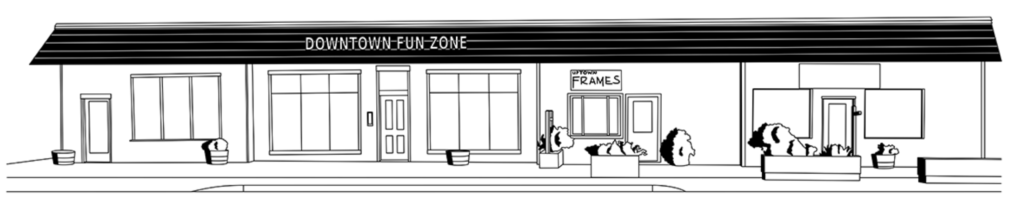 Line art schematic of the Downtown Fun Zone Building by Levi Thompson.