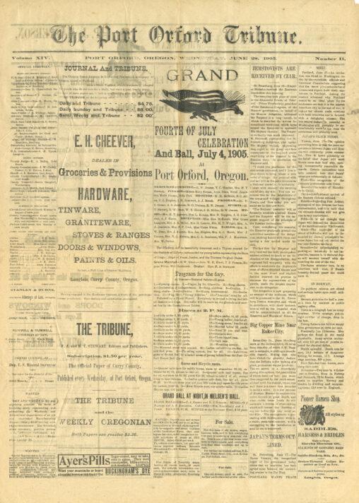 1905 Port Orford Tribune (Front)