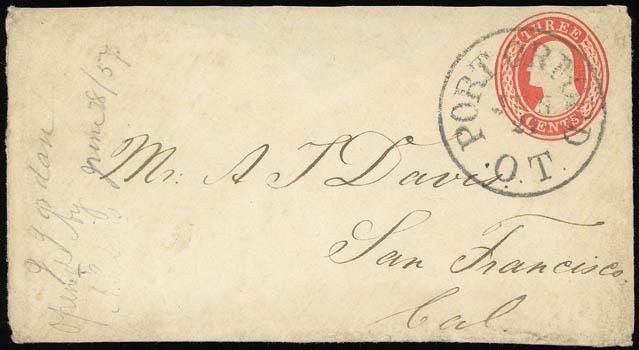 Early Port Orford Postmark, circa 1857
