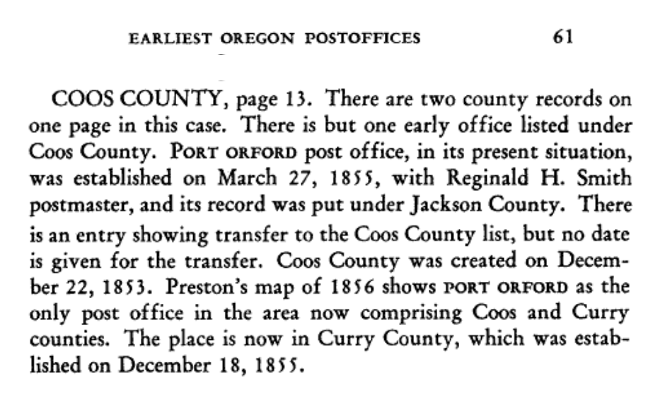 """""""Earliest Oregon Postoffices as Recorded at Washington"""" Excerpt from Oregon Historical Quarterly"""